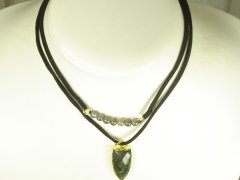 Suede Necklace with Labradorite Stone